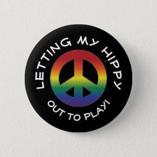 Hippytude Attitude Playful with Prism Peace Sign 2 Inch Round Button
