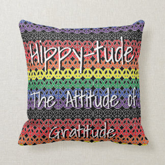 Hippytude with Rainbow Lineup Peace Signs Throw Pillow