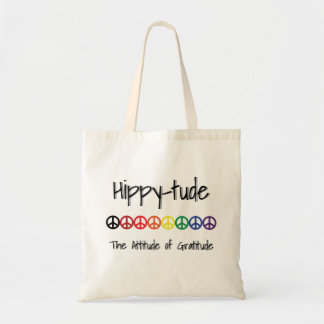 Hippytude with Rainbow of Peace Signs Tote Bag