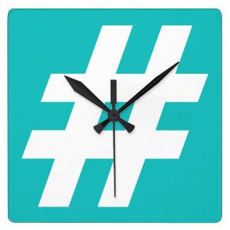 Hipstar Hashtag Blue Wall Clock