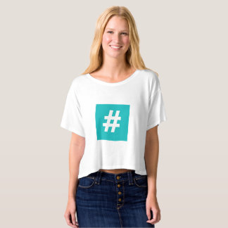 Hipstar Hashtag Boxy Crop Top T-Shirt