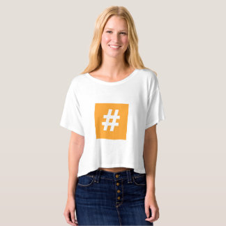 Hipstar Hashtag Orange Boxy Crop Top T-Shirt