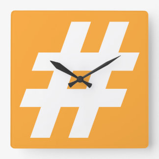 Hipstar Hashtag Orange Wall Clock