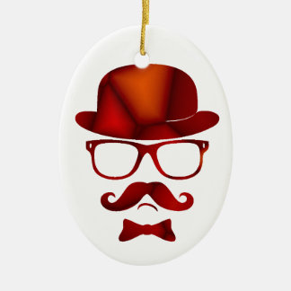 Hipster 1b derby moustache glasses ceramic oval ornament