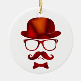 Hipster 1b derby moustache glasses round ceramic ornament