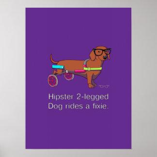 Hipster 2-legged Dog Poster
