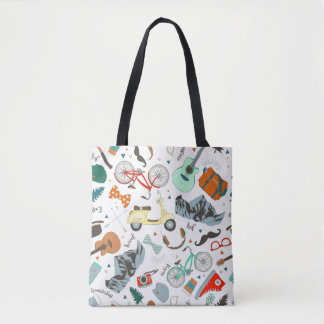 Hipster Adventure Travel All-Over-Print Tote Bag
