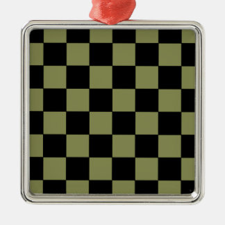 Hipster Army Green Checkerboard Chessboard Christmas Tree Ornament