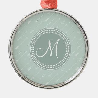 Hipster Arrow Mint Green Monogram Christmas Tree Ornaments