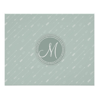 Hipster Arrow Mint Green Monogram Posters