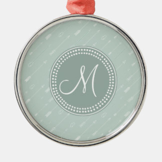 Hipster Arrow Mint Green Monogram Silver-Colored Round Ornament