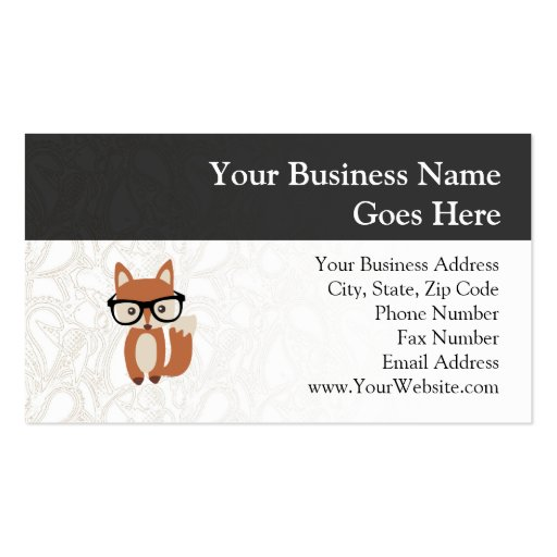 Hipster Baby Fox w/Glasses Business Card Template