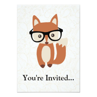 Hipster Baby Fox w/Glasses Card