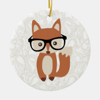 Hipster Baby Fox w/Glasses Round Ceramic Ornament