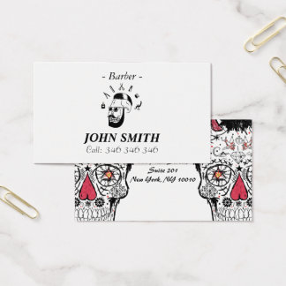 Hipster Barber Skull business Card