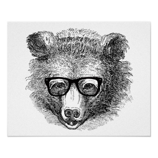 Hipster Bear Poster