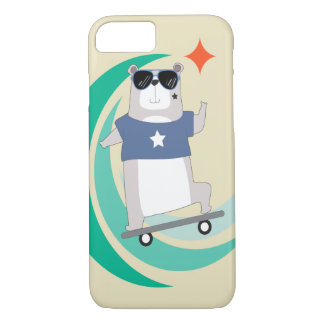 Hipster Bear Riding a Skateboard iPhone 7 Case