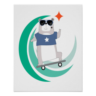 Hipster Bear Riding a Skateboard Poster