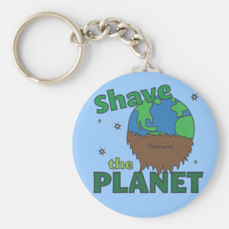 Hipster Bearded Earth Day Shave (Save) The Planet Keychain