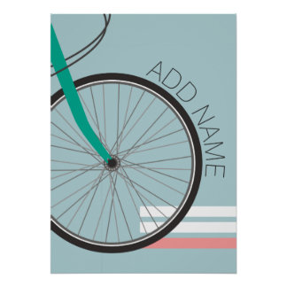 Hipster Bicycle Wheel with Custom Name 20x28 Poster