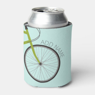 Hipster Bicycle Wheel with Custom Name Can Cooler