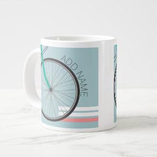 Hipster Bicycle Wheel with Custom Name Jumbo Mug