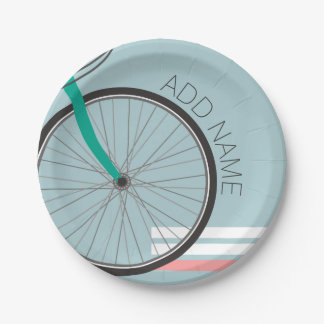 Hipster Bicycle Wheel with Custom Name Paper Plate