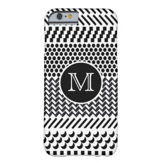 Hipster Black and White Geometric Pattern Monogram Barely There iPhone 6 Case