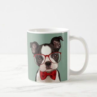 Hipster Boston Terrier Coffee Mug