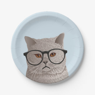 Hipster British Shorthair Cat Paper Plate