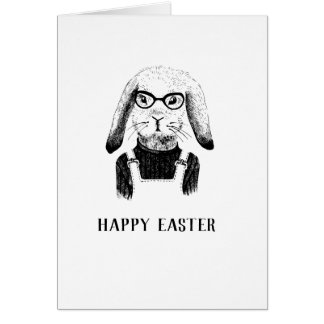 Hipster bunny Happy easter Card