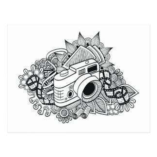 Hipster Camera Doodle Postcard