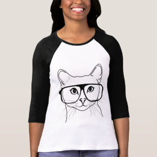 Hipster cat 3/4 sleeve shirt