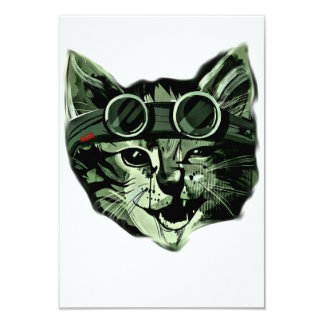 "Hipster Cat 3.5"" X 5"" Invitation Card"