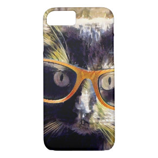 Hipster Cat, Amber glasses! iPhone 7 Case