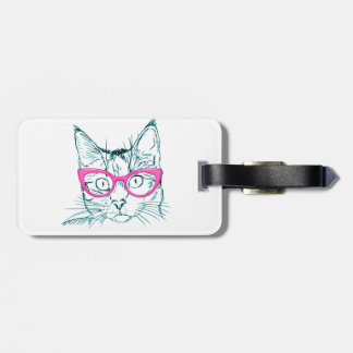 Hipster Cat Bag Tag