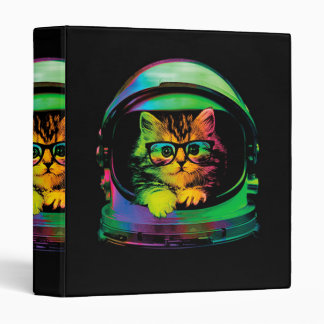 Hipster cat - Cat astronaut - space cat Binder