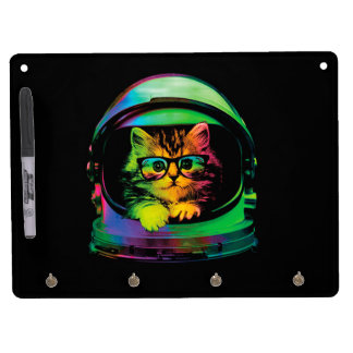 Hipster cat - Cat astronaut - space cat Dry Erase Board With Keychain Holder