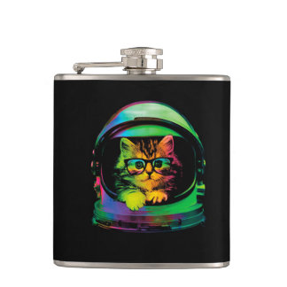 Hipster cat - Cat astronaut - space cat Hip Flask