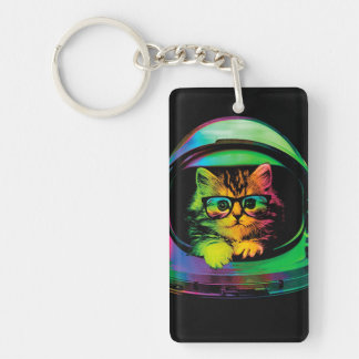 Hipster cat - Cat astronaut - space cat Keychain