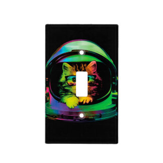 Hipster cat - Cat astronaut - space cat Light Switch Cover
