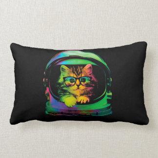 Hipster cat - Cat astronaut - space cat Lumbar Pillow