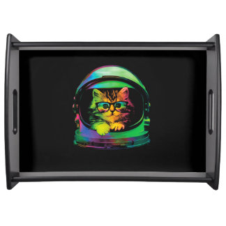 Hipster cat - Cat astronaut - space cat Serving Tray