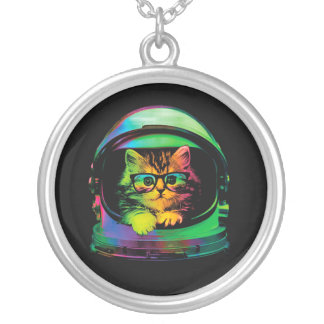 Hipster cat - Cat astronaut - space cat Silver Plated Necklace