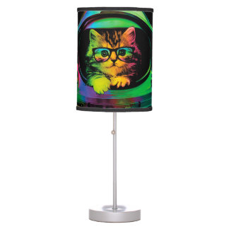 Hipster cat - Cat astronaut - space cat Table Lamp