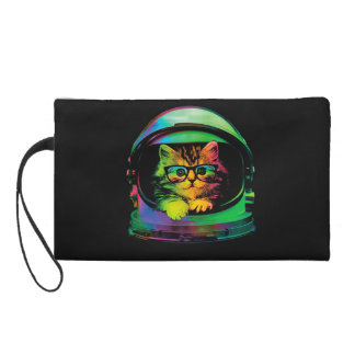 Hipster cat - Cat astronaut - space cat Wristlet