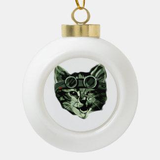 Hipster Cat Ceramic Ball Ornament