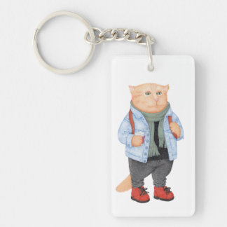 Hipster Cat Double-Sided Rectangular Acrylic Keychain