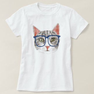 Hipster Cat (Grey Tabby) T-Shirt