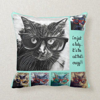 Hipster Cat in Glasses; crazy cat lady, aqua Throw Pillow